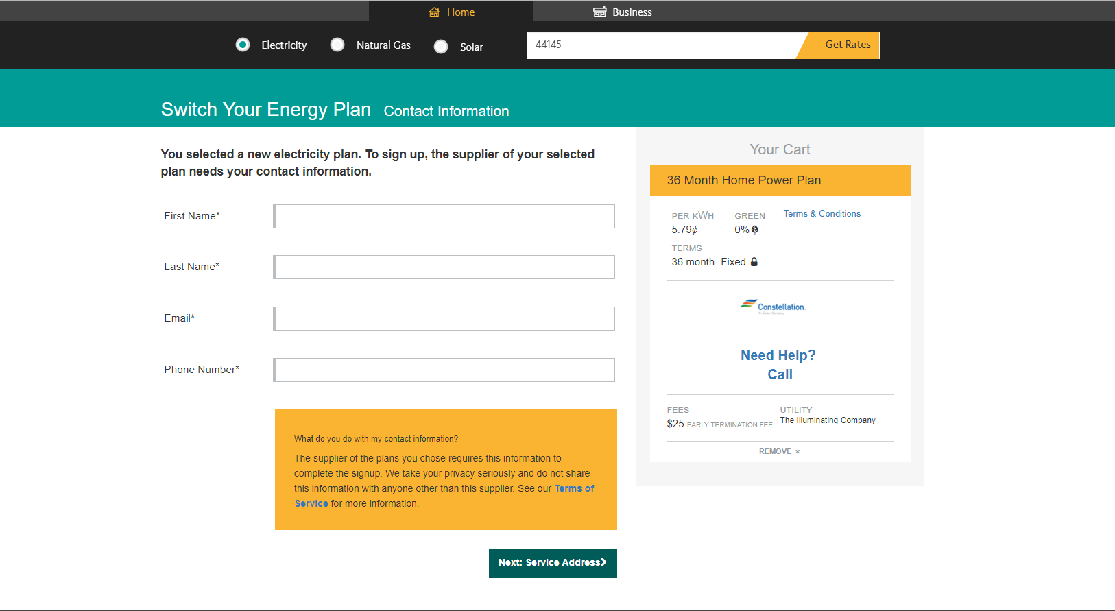 choose energy sign up