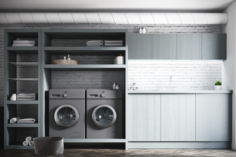 White Laundry Room Interior, Gray Washing Machines
