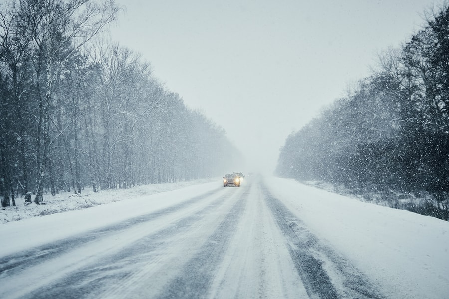 cars in winter storm
